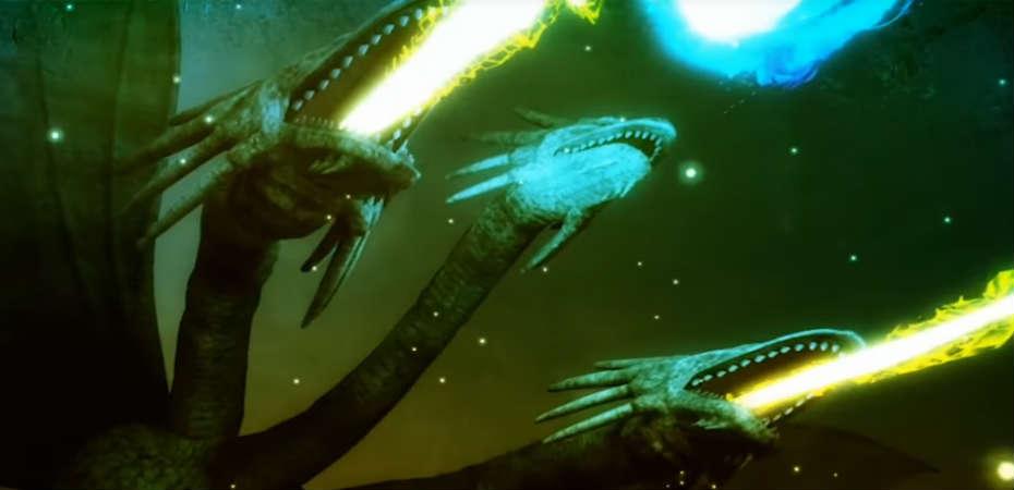 Imagem do dragão de três cabeças King Ghidorah na abertura de City Shrouded in Shadow.