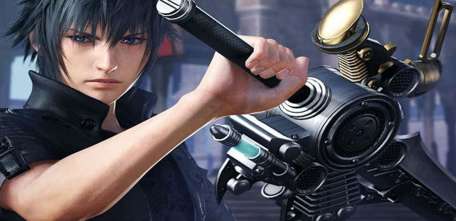 Noctis carrega sua espada para batalha em Dissidia Final Fantasy NT.