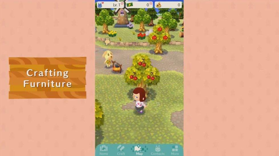 Coleta de materiais em Animal Crossing: Pocket Camp