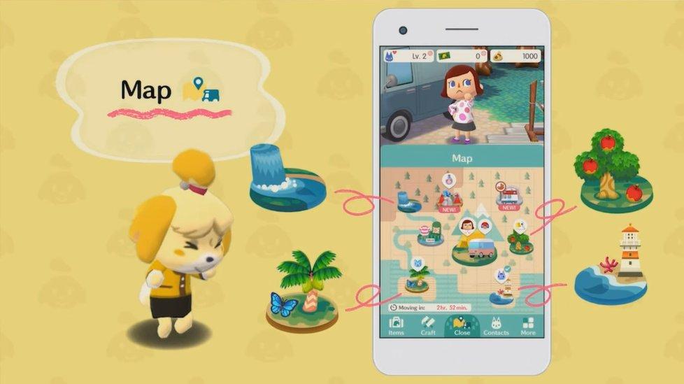 Mapa e atividades em Animal Crossing: Pocket Camp