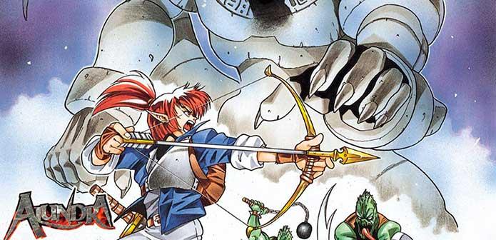 Alundra segura arco e flecha enquanto enfrenta um monstro