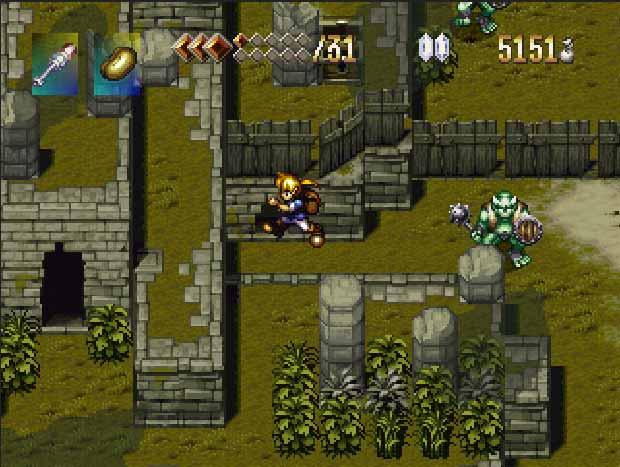Imagem do jogo Alundra, aonde está pulando plataformas