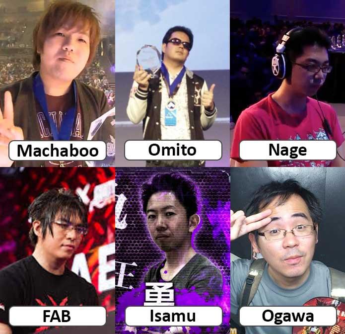 Imagem dos jogadores Machaboo, Omito, Isamu, FAB, Nage e Ogawa