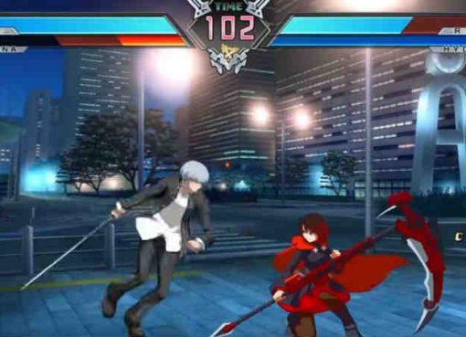 Yu e Ragna contra Ruby e Hyde em BlazBlue Cross Tag Battle