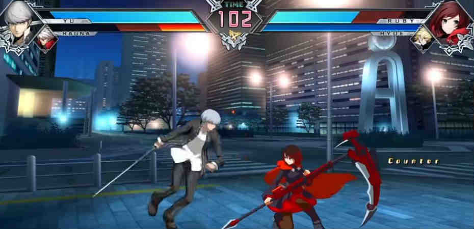 Yu e Ragna contra Ruby e Hyde em BlazBlue Cross Tag Battle