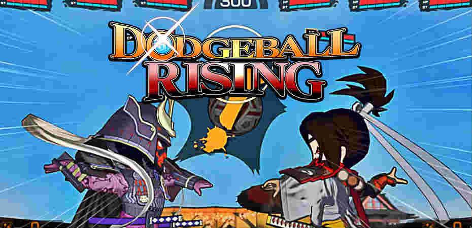 Imagem de jogabilidade e logo de Dodgeball Rising.