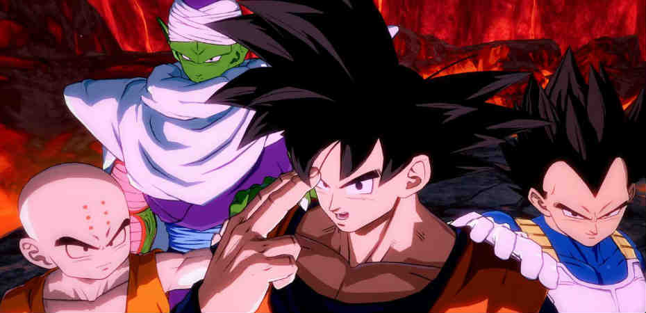 Goku, Kuririn, Piccolo e Vegeta em Dragon Ball FighterZ