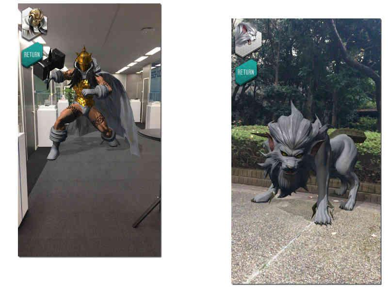 Imagens exibindo a função de realidade aumentada de Dx2 Shin Megami Tensei: Liberation