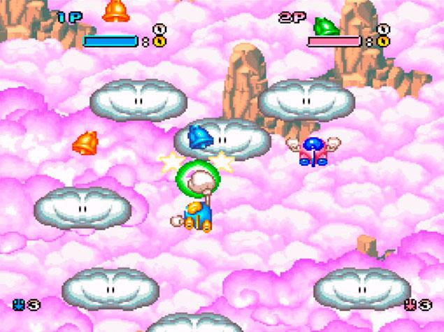 Imagem do gameplay de Pop'n TwinBee mostrando sinos