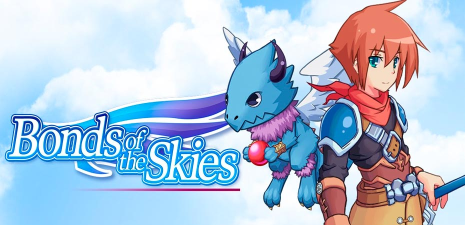 Imagem mostrando a logo e o protagonista de Bonds of the Skies