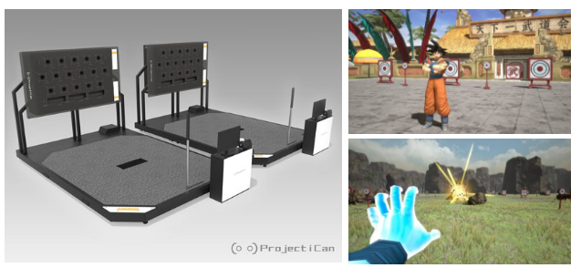Equipamento e imagens de gameplay de Dragon Ball VR na VR Shinjuku Zone.