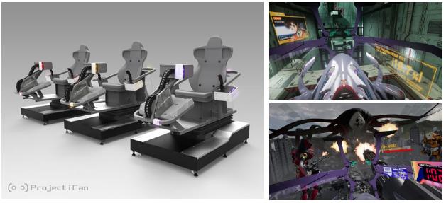 Equipamento e imagens de gameplay de Evangelion VR na VR Shinjuku Zone.