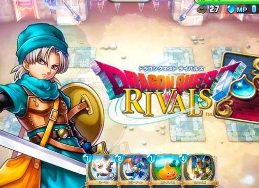 Imagem mostrando cena de Dragon Quest Rivals e logo