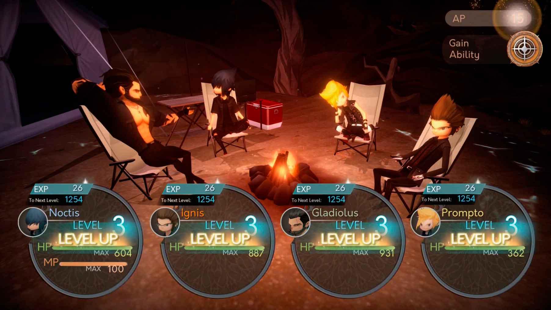 Imagem mostrando os personagens de FFXV: Pocket Edition ao redor de uma fogueira