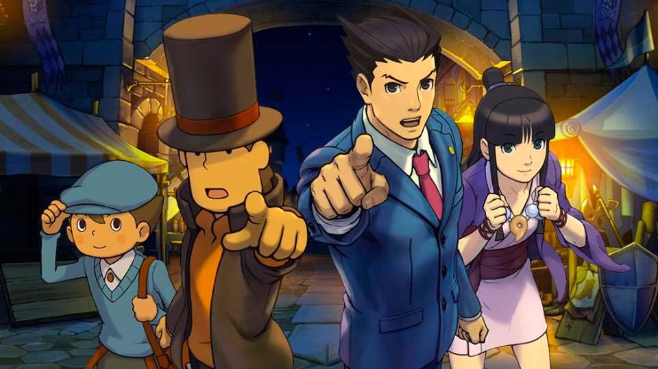 Imagem dos personagens de Professor Layton vs. Phoenix Wright