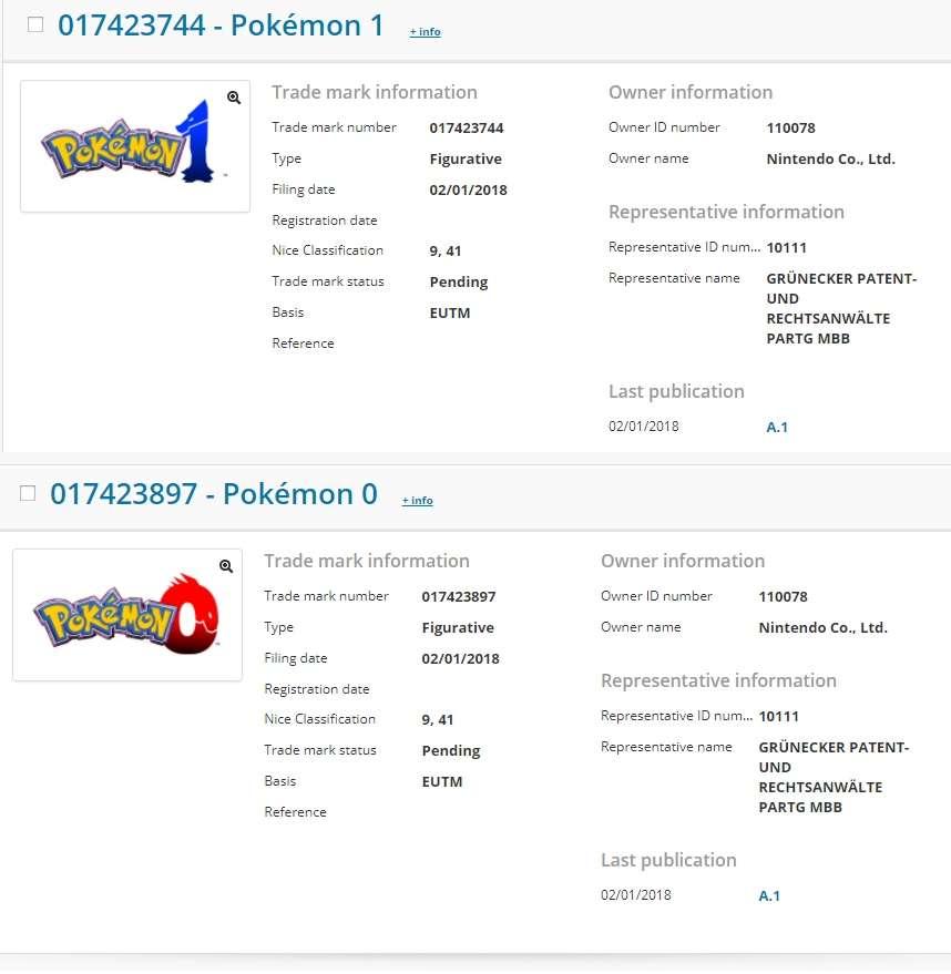 Logos dos supostos jogos Pokémon 1 e 0