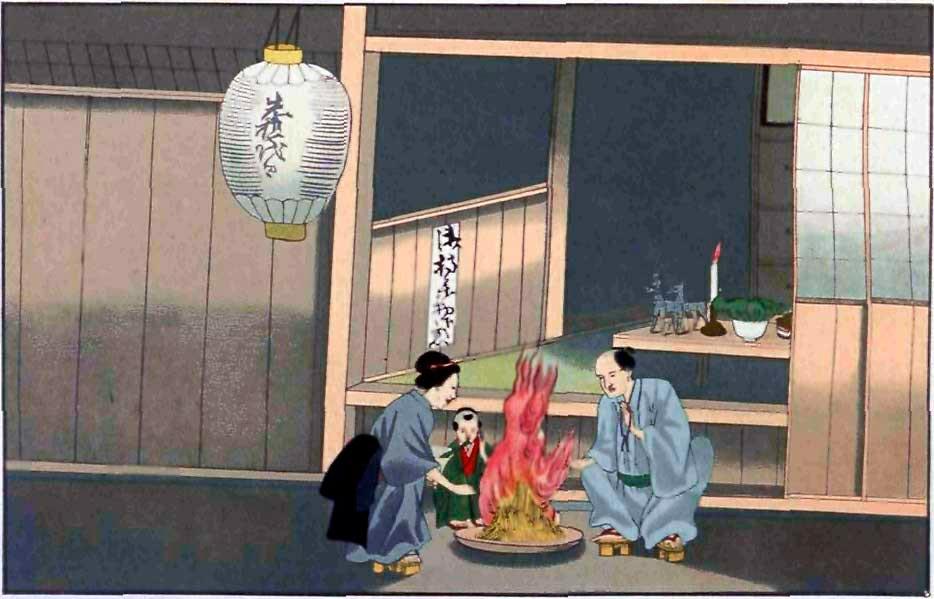 Pintura relatando os costumes japoneses no verão