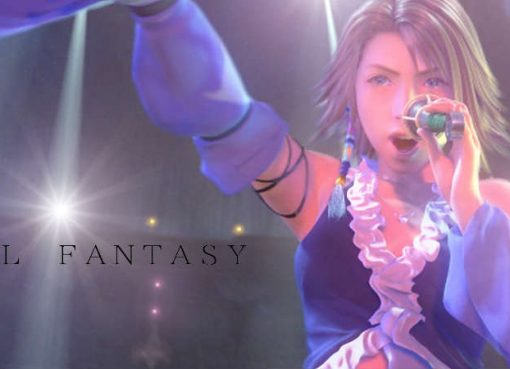 """Imagem de Final Fantasy X-2 com as palavras """"Idol Fantasy""""."""