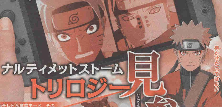 Parte do scan de página da revista Jump com informação sobre Naruto Shippuden Ultimate Ninja Storm Trilogy no Switch