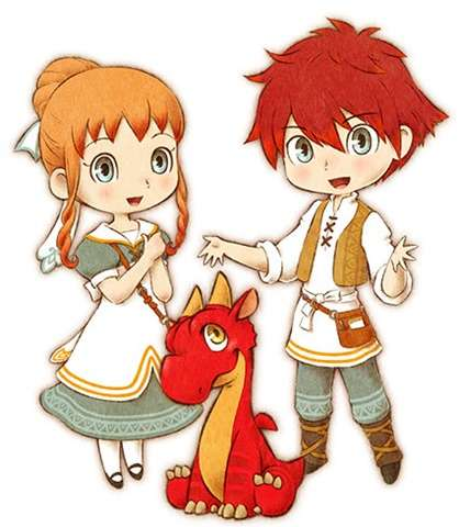 Arte dos personagens principais de Little Dragons Café