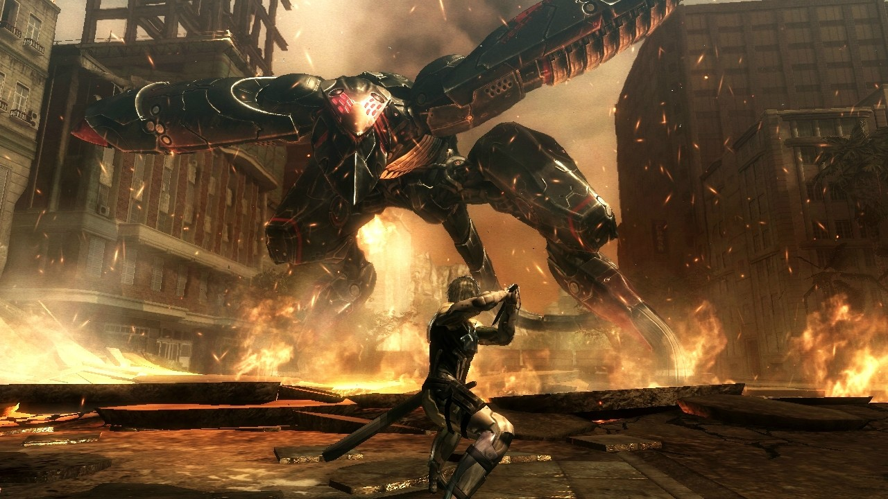 Imagem de gameplay de Metal Gear Rising: Revengeance exibindo Raiden contra um Metal Gear RAY.