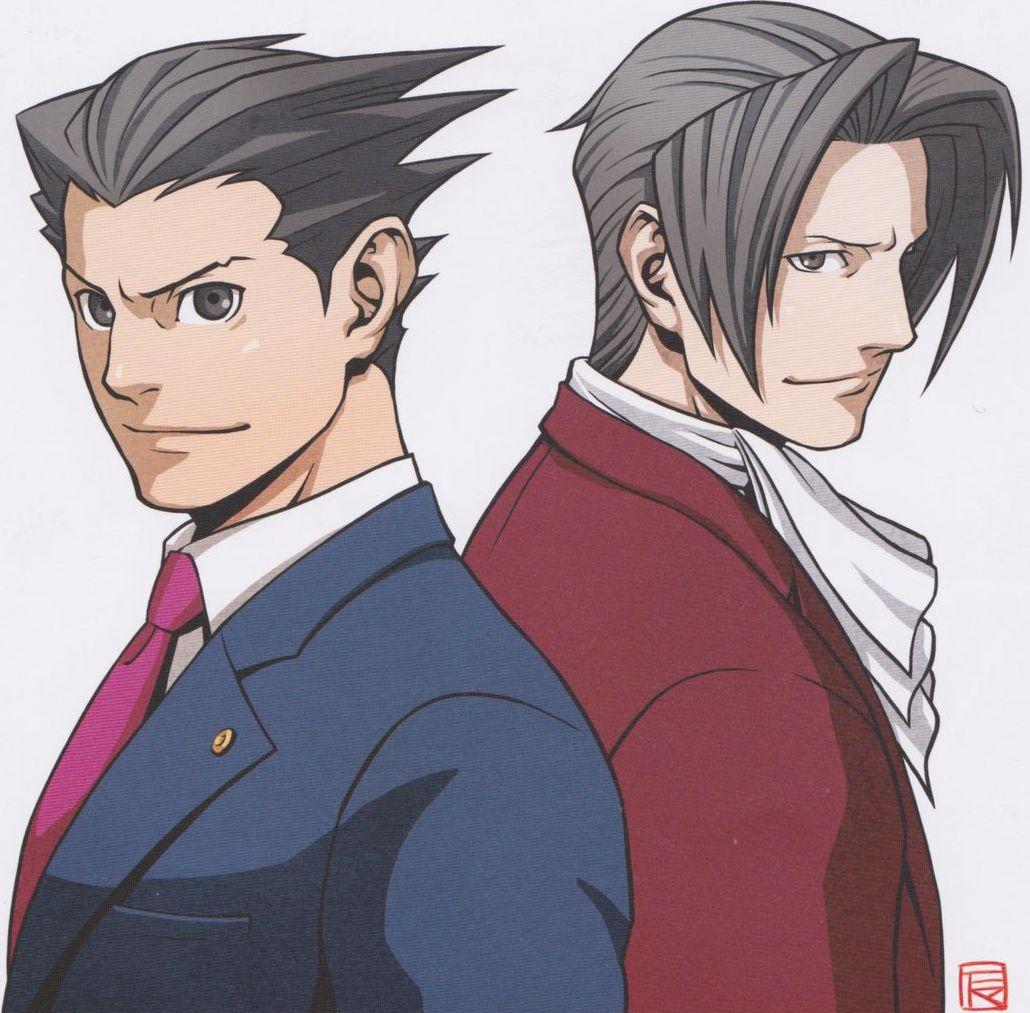 Ilustração dos personagens Miles e Phoenix de Phoenix Wright: Ace Attorney.