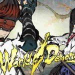 Ilustração de personagens e logo de World of Demons