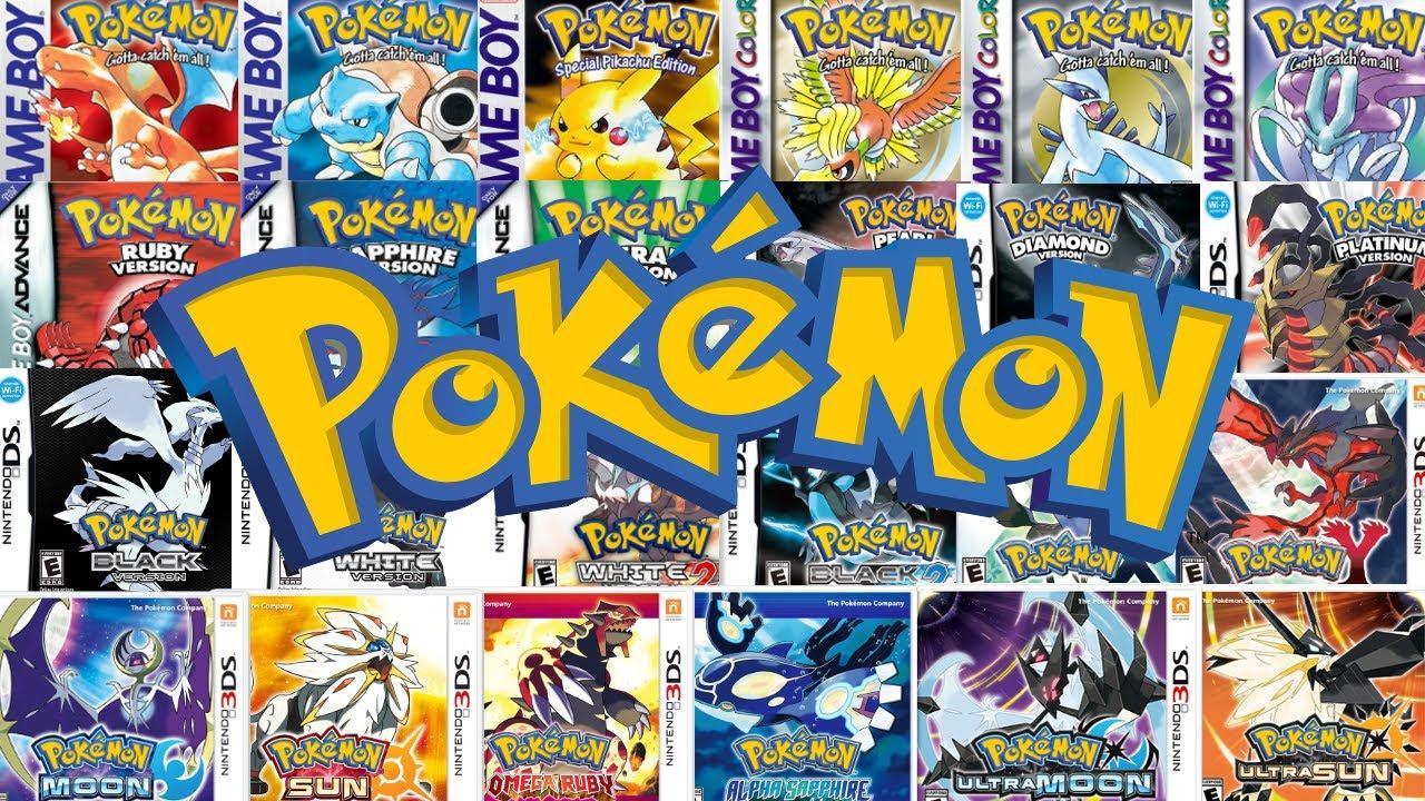 Imagem exibindo todos os títulos principais da série Pokémon