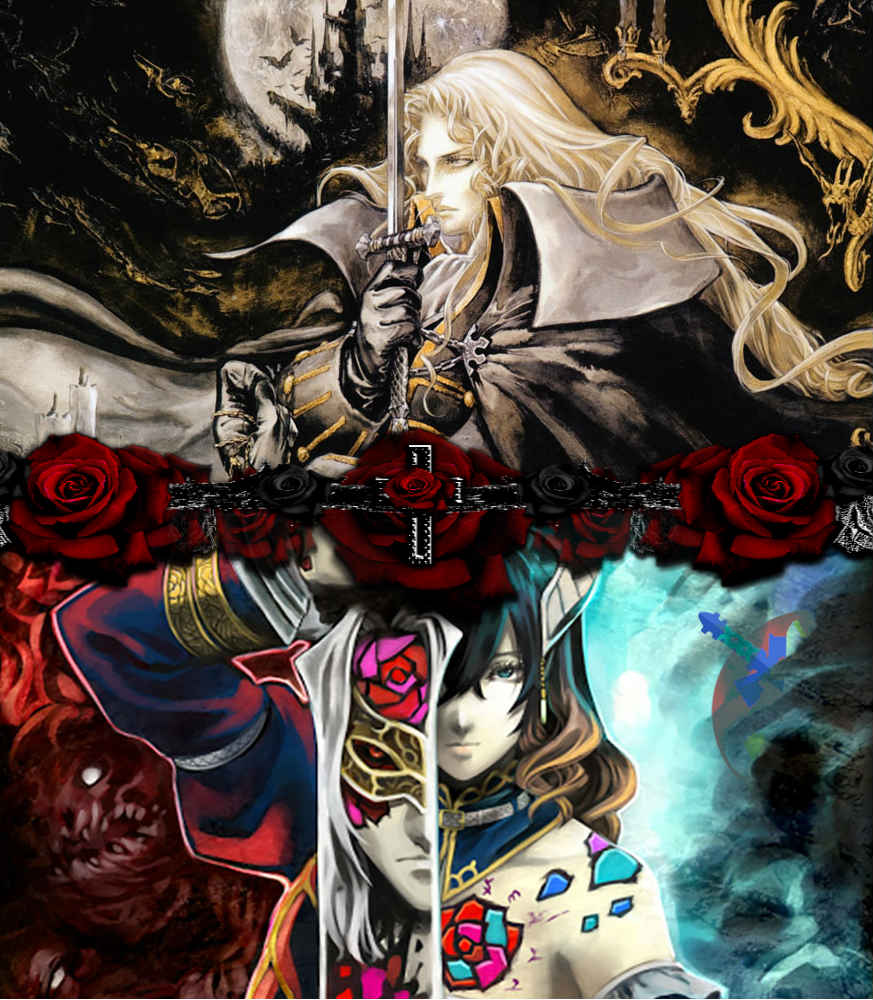 Imagem de Castlevania: Symphony of the Night e Bloodstained: Ritual of the Night, um de seus sucessores espirituais