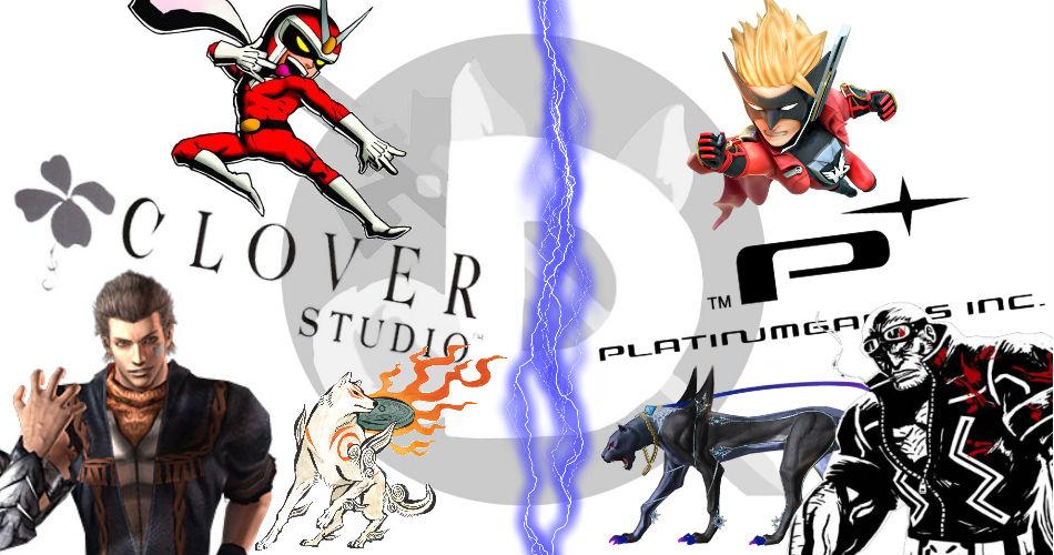 Imagem exibindo personagens de jogos da Clover Studio ao lado de outros de sucessores espirituais da PlatinumGames