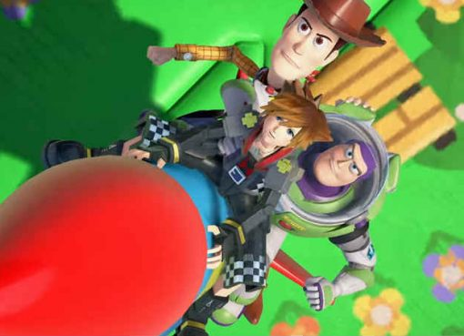 Screenshot exibindo Sora, Woody e Buzz Lightyear em Kingdom Hearts III