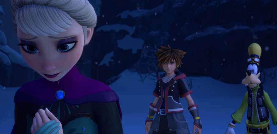 Screenshot exibindo Elsa, Sora e Pateta em Kingdom Hearts III