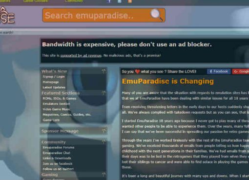 """EmuParadise está mudando"""