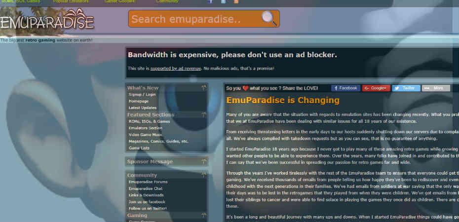 EmuParadise, site popular de ROMs, remove todos os seus jogos