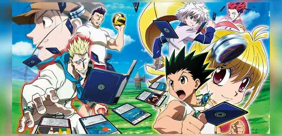 "Artwork do arco Greed Island do anime Hunter x Hunter, inspiração para o novo jogo ""Greed Adventure""."