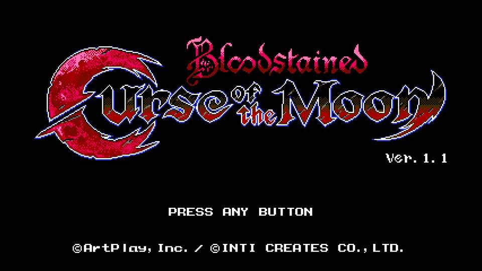 Tela inicial de Bloodstained: Curse of the Moon