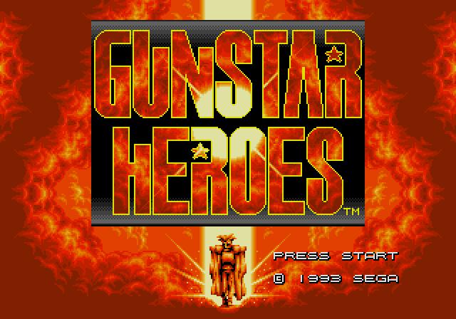 Tela de início de Gunstar Heroes
