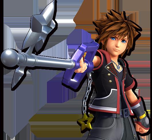 Sora com seu design de Kingdom Hearts III empunhando a Starlight Keyblade que pode ser adquirida em Kingdom Hearts Union X