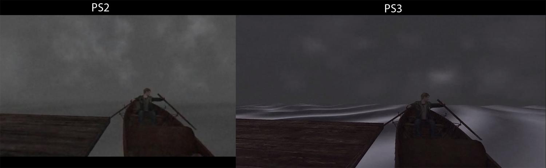 Screenshot comparando os gráficos do Silent Hill 2 original com o presente na coletânea Silent Hill HD Collection