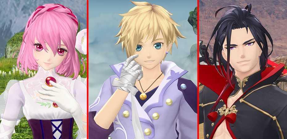 Os três personagens principais de Tales of Crestoria