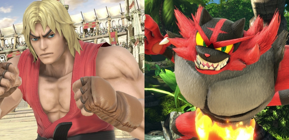 Ken e Incineroar em Super Smash Bros. Ultimate