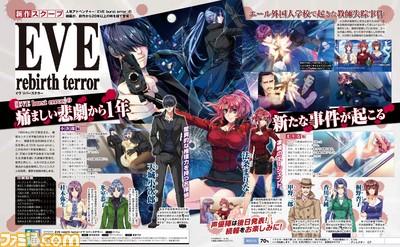 Scan da revista Famitsu mostrando imagens da sequência de Eve Burst Error