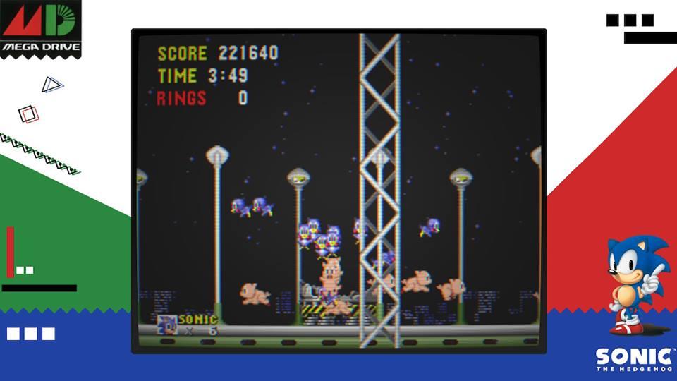 Tela de gameplay de Sega Ages Sonic the Hedgehog