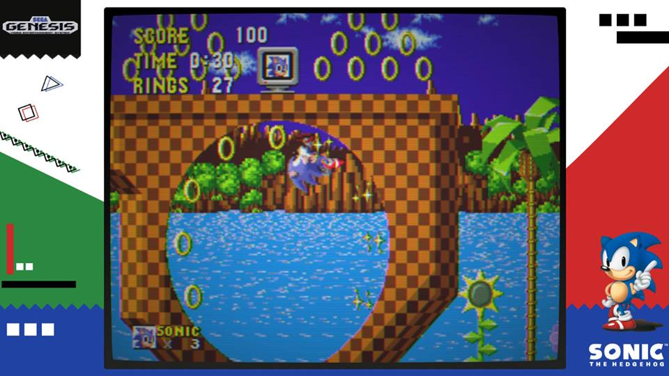 Tela de gameplay de Sega Ages Sonic the Hedgehog