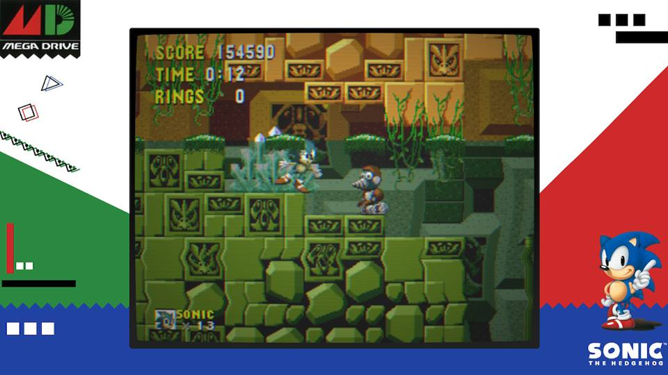 Tela de gameplay de Sega Ages: Sonic the Hedgehog