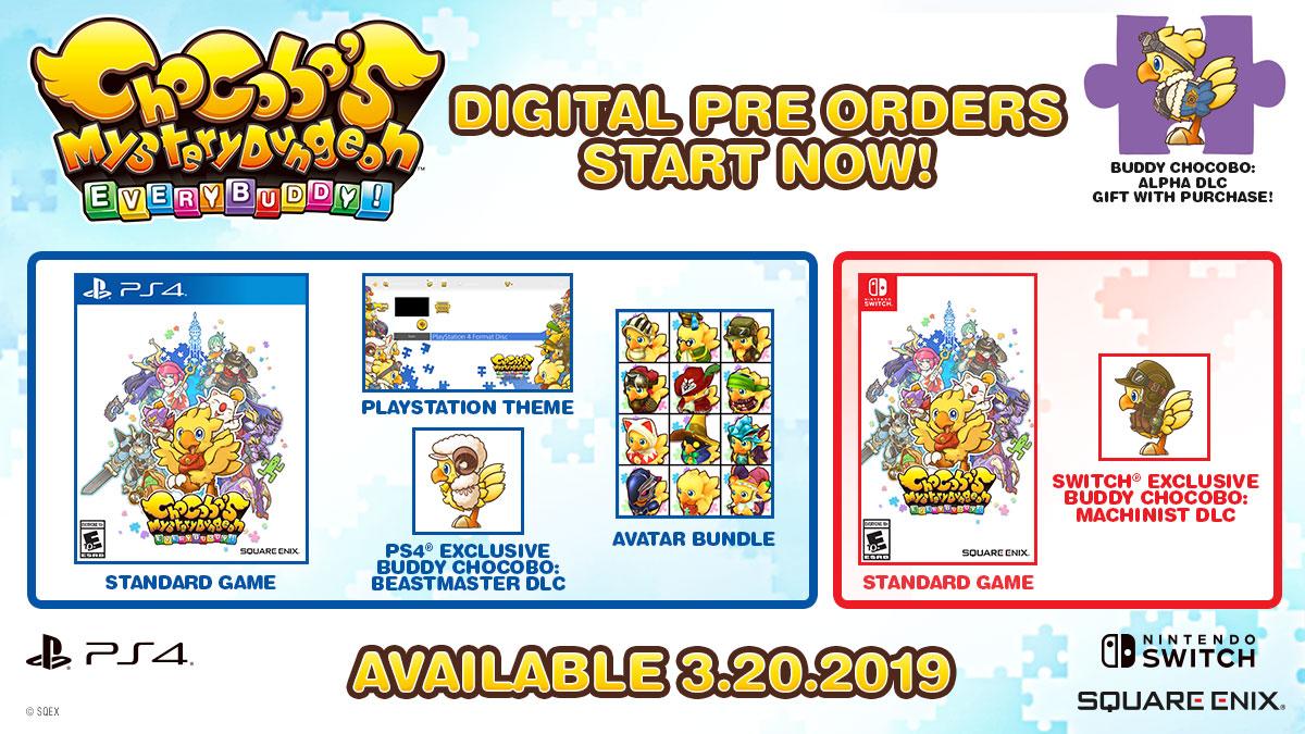 Imagem mostrando o conteúdo bônus de pré-venda de Chocobo's Mystery Dungeon: Every Buddy!
