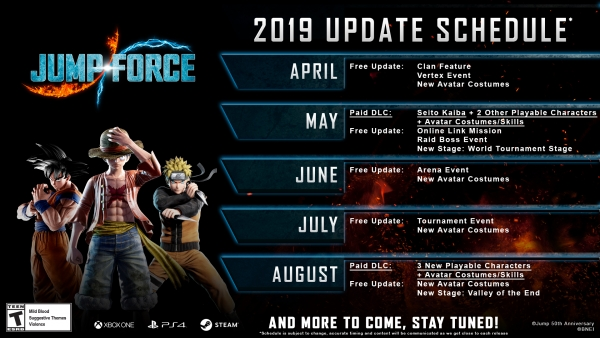 Programação de atualizações de 2019 para Jump Force