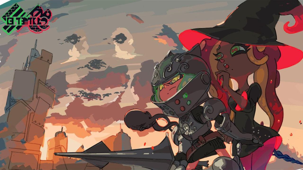 Ilustração para o Splatfest de Knights vs. Wizards de Splatoon 2