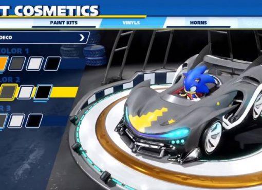 Tela de customização de veículos de Team Sonic Racing