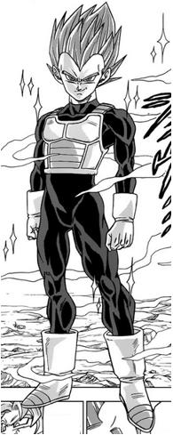 Vegeta na forma de Super Saiyajin Deus no mangá de Dragon Ball Super, como ele também aparecerá em Dragon Ball Xenoverse 2